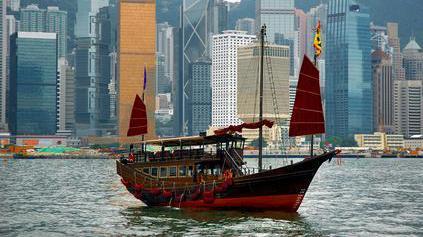 Jonque dans le port de Hong Kong