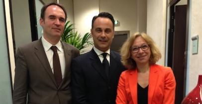 De g. à d. : Yann Martin, Pierre de Pellegars, Frédérique Rabier-Hamon (BNP Paribas)