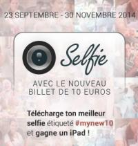 Selfie avec le nouveau billet de 10 euros