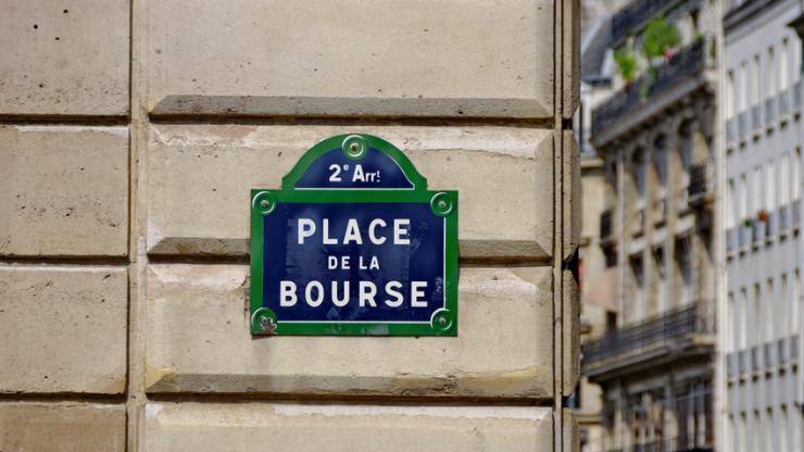 Panneau de la place de la Bourse à Paris