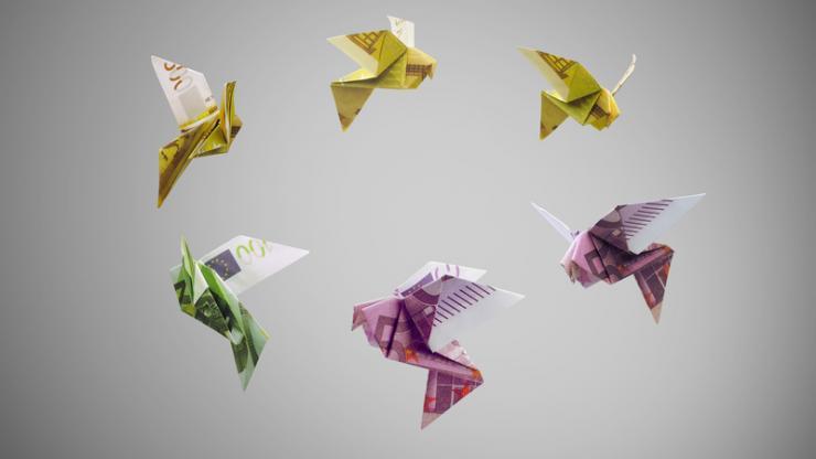 Oiseaux origami en euros