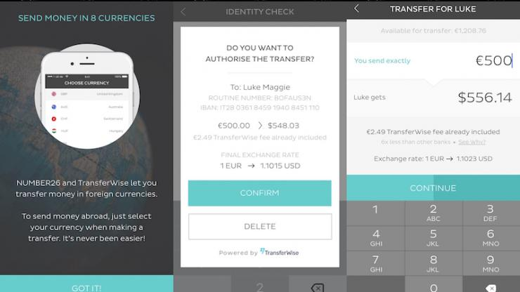 Interface TransferWise dans Number26