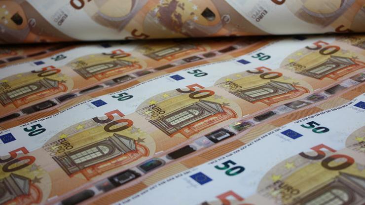 Planche de billets de 50 euros mis en circulation le 4 avril 2017