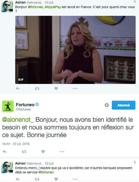 Copie d'écran d'un tweet d'un client Fortuneo concernant ApplePay