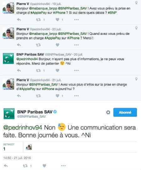 Copie d'écran d'un tweet d'un client BNP Paribas concernant ApplePay