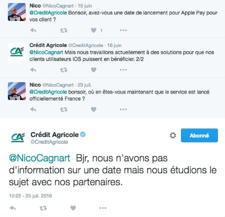 Copie d'écran d'un tweet d'un client Crédit Agricole concernant ApplePay