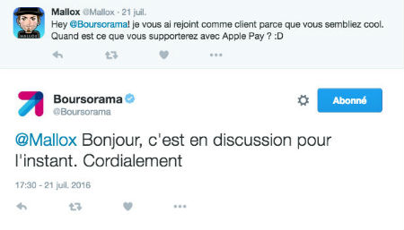 Copie d'écran d'un tweet d'un client Boursorama concernant ApplePay