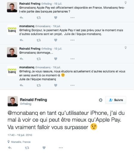 Copie d'écran d'un tweet d'un client Monabanq concernant ApplePay