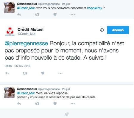 Copie d'écran d'un tweet d'un client Crédit Mutuel concernant ApplePay