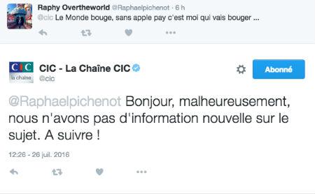 Copie d'écran d'un tweet d'un client CIC concernant ApplePay