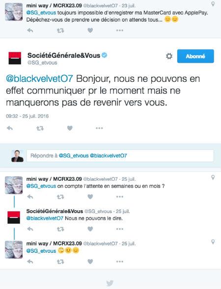 Copie d'écran d'un tweet d'un client Société Générale concernant ApplePay