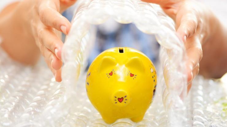 Tirelire protégée par du papier bulle