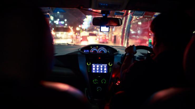 Trajet nocturne en voiture