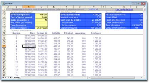 Tlchargement de jxpret - Calcul tableau d amortissement emprunt excel ...