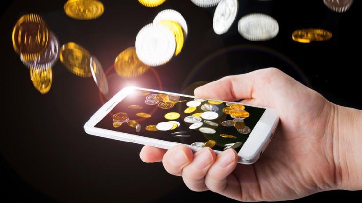 Pluie de pièces de monnaie sur mobile