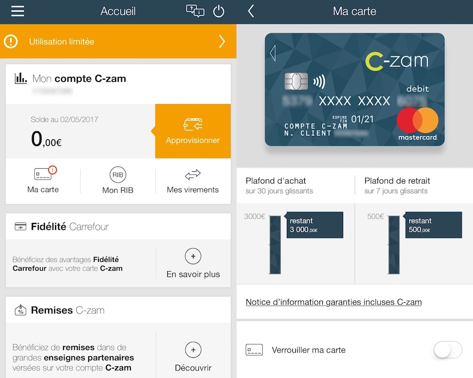 Page d'accueil Application C-zam