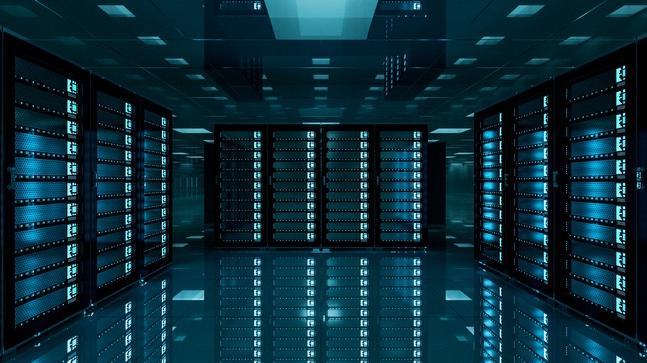 Pièce obscure d'un data center