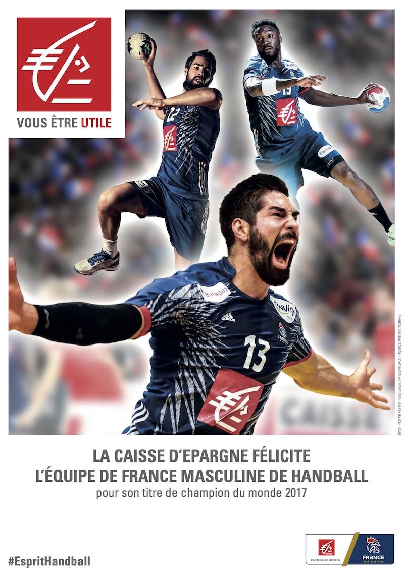 Affiche de la Caisse d'Epargne à la suite du titre de champion du monde de handball en 2017