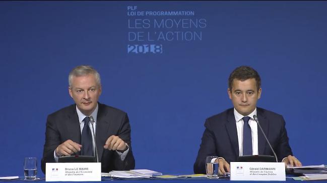 Darmanin et Le Maire lors de la présentation PLF2018