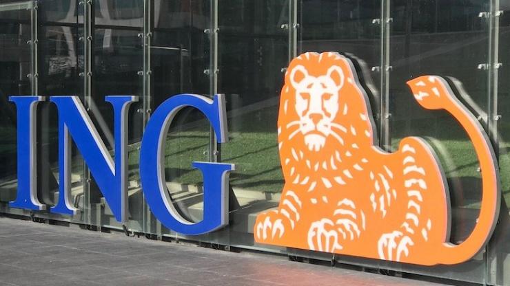 Logo ING au siège de la banque à Amsterdam