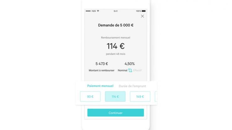 Interface crédit dans l'app N26