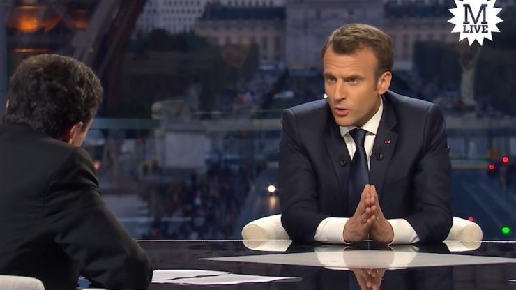Macron en 2018 en interview Mediapart-BFM-RMC
