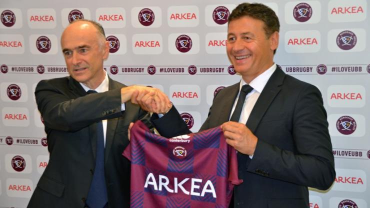 Signature d'un partenariat entre Arkéa et l'UBB (rugby), en juin 2018