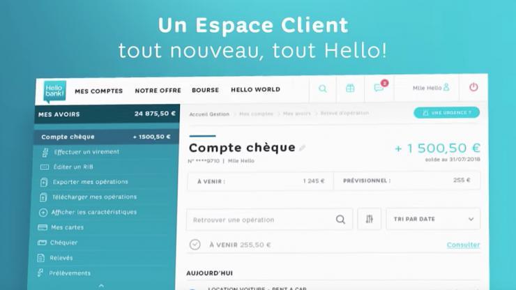 Nouvelle interface espace client Hello Bank, août 2018