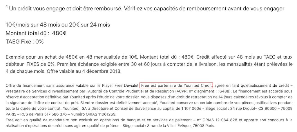 Conditions de l'offre de financement du Player Freebox Delta