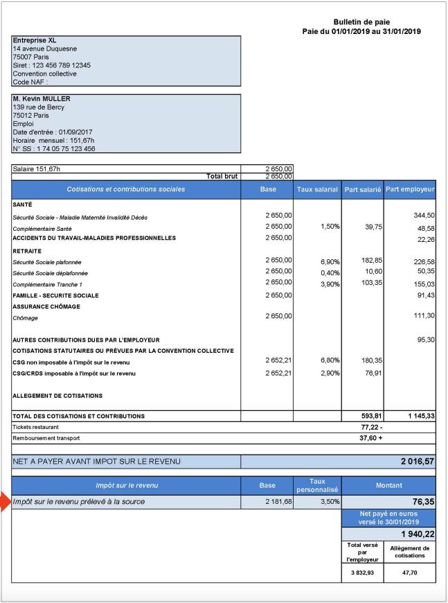 Bulletin de salaire prélèvement à la source