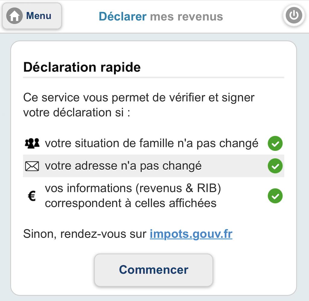 Avertissement déclaration de revenus sur mobile