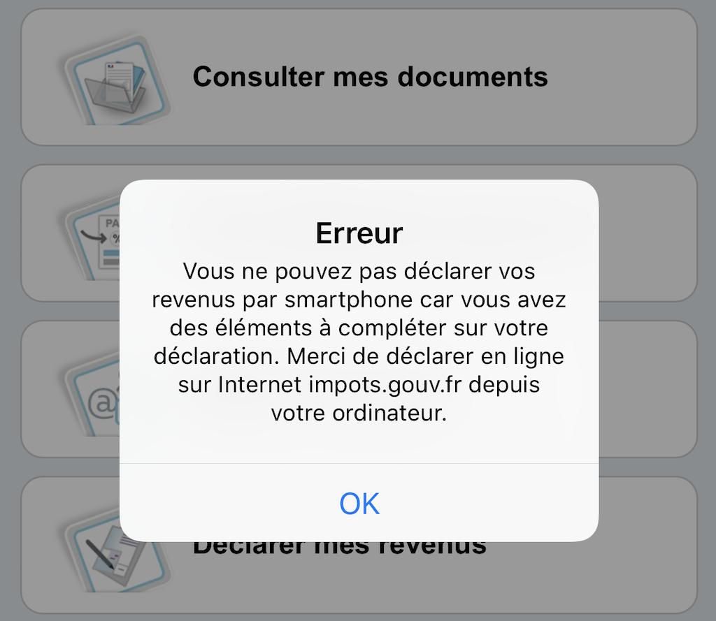 Message d'erreur déclaration de revenus sur smartphone