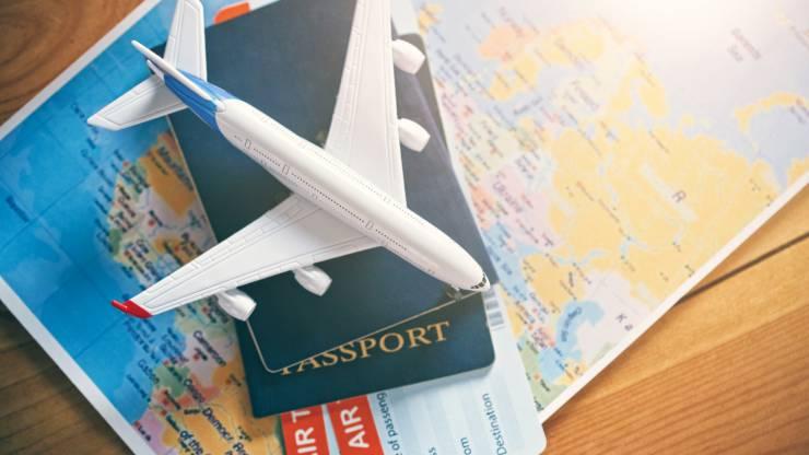 vacances, voyage, avions, étranger