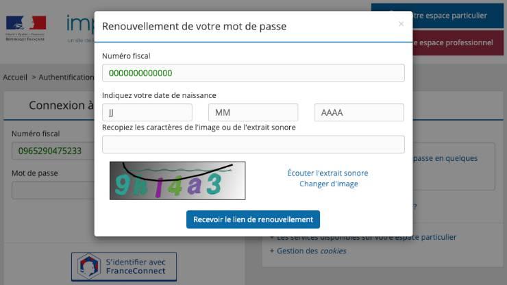 Impots.gouv.fr, mot de passe