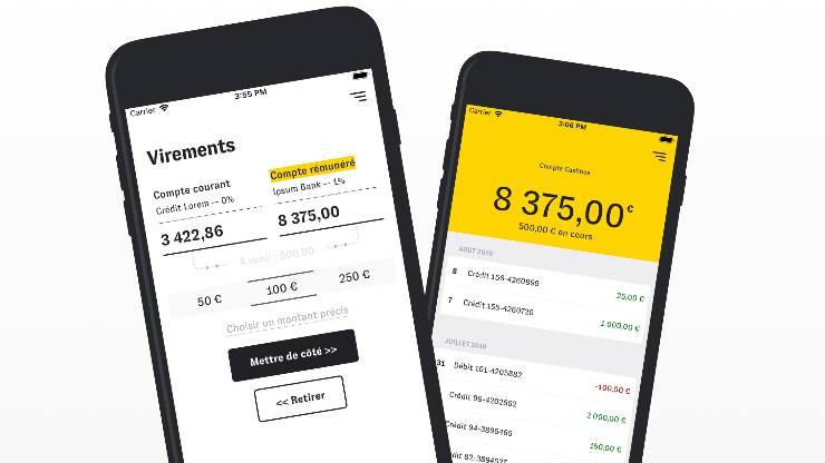 Interface de l'application Cashbee sur iPhone