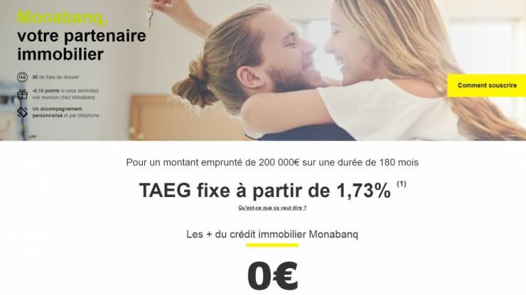Présentation du crédit immobilier sur le site web de Monabanq