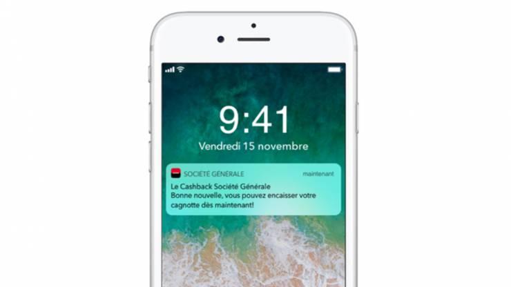 Notification cashback Société Générale sur iPhone