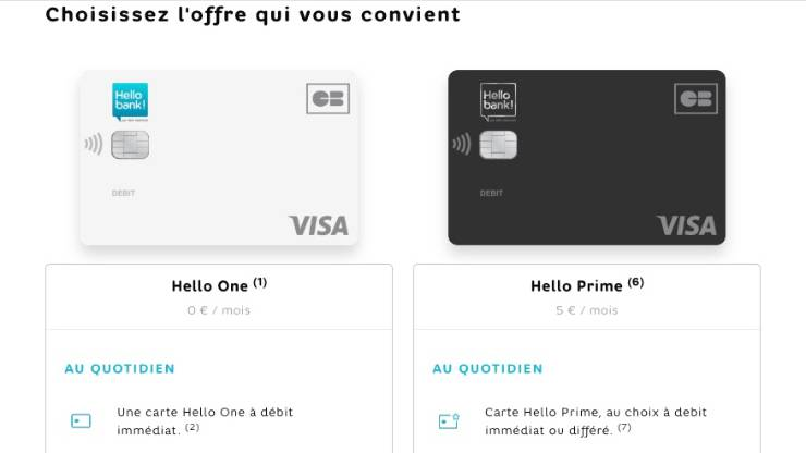 Cartes Hello One et Prime