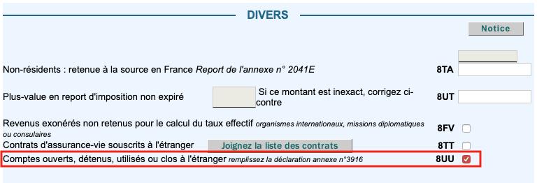 Déclaration impôts 2020, case 8UU