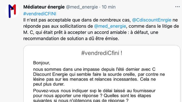 Médiateur de l'énergie sur Twitter