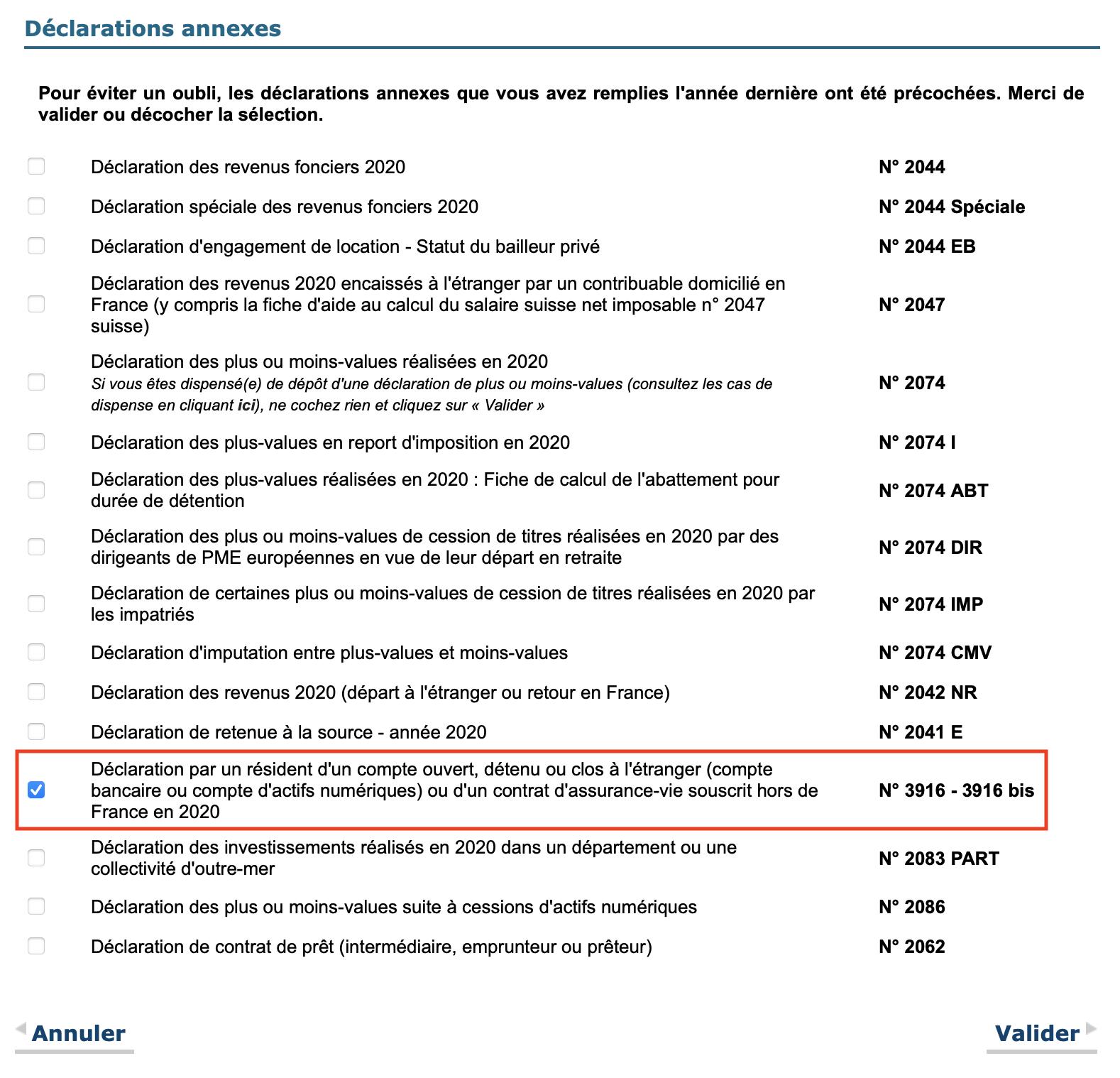 Impôts 2021, déclaration compte étranger