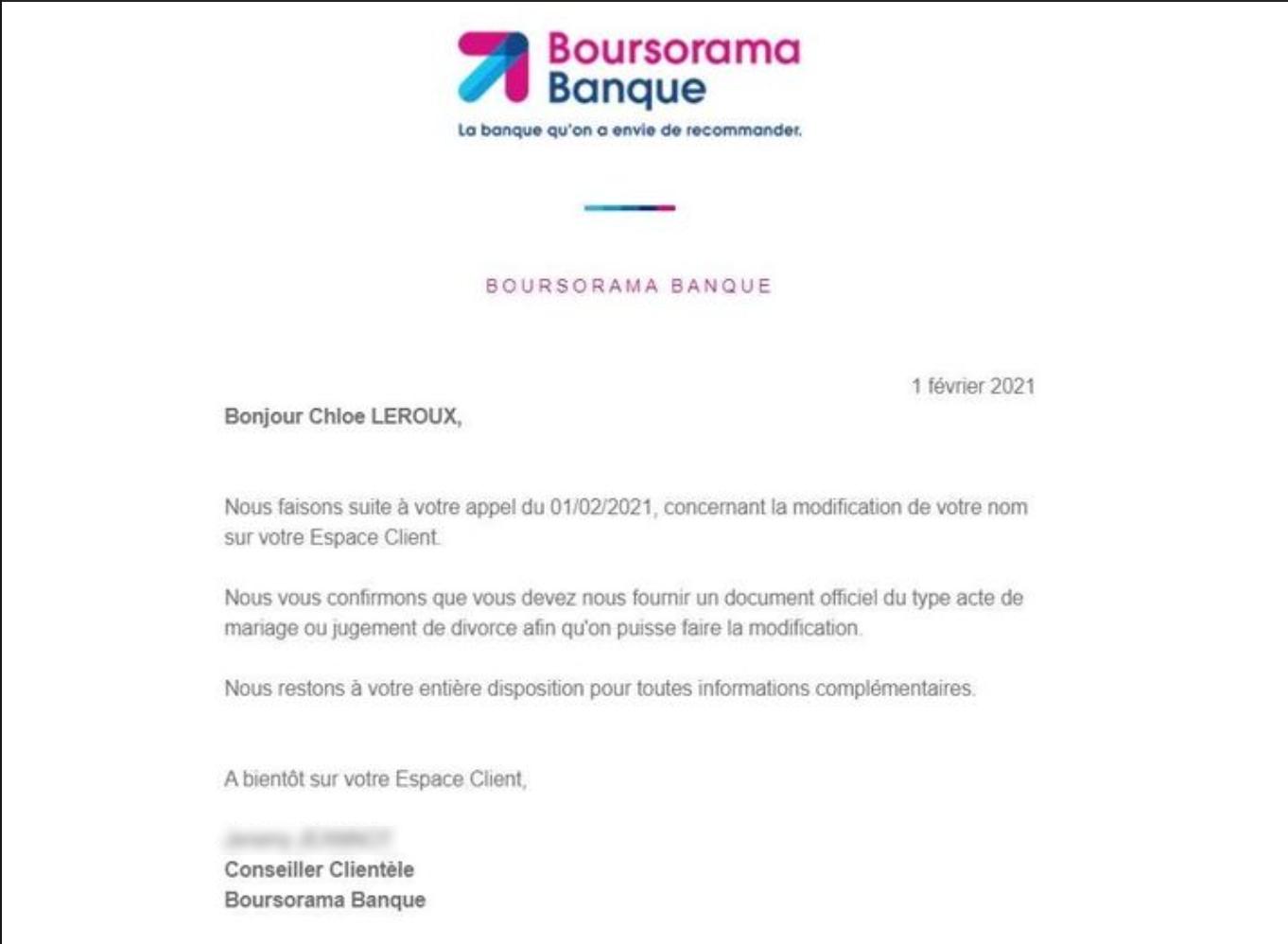 Courrier de Boursorama, demande de justificatif pour un changement de nom