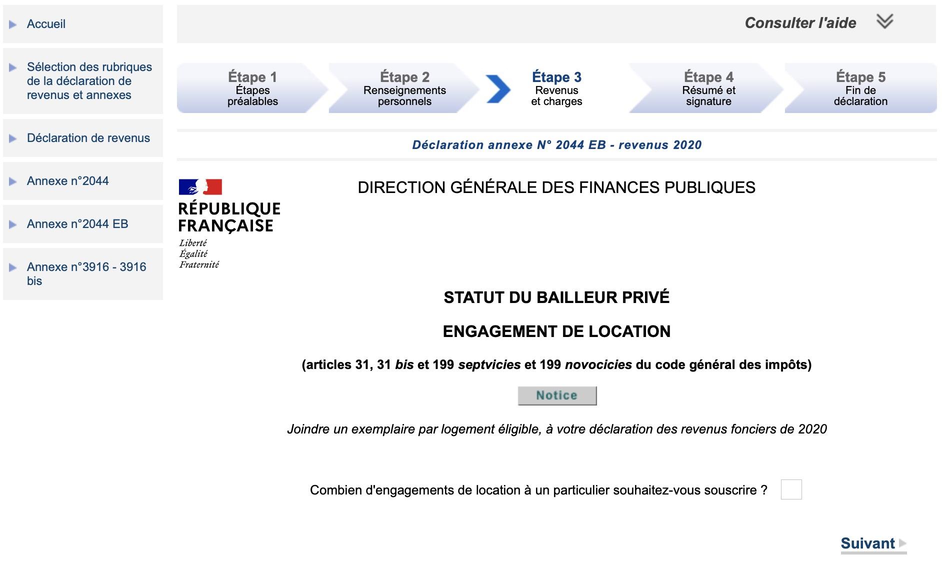 déclaration annexe revenus fonciers Pinel