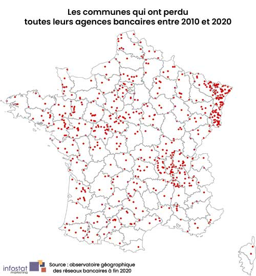 Disparition du nombre d'agences bancaires entre 2010 et 2020