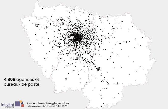 Ile de France - Nombre agences bancaires au niveau national à fin 2020