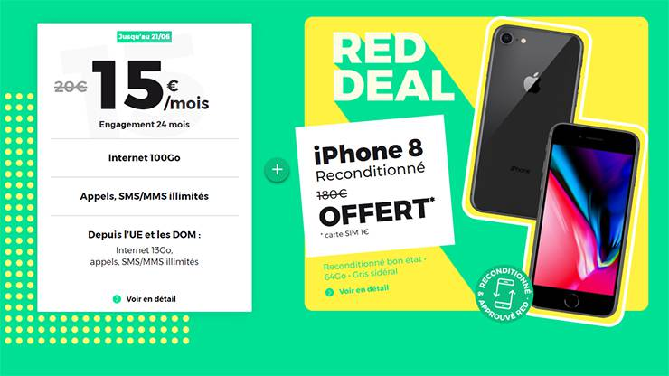 Offre iPhone 8 offert chez RED by SFR