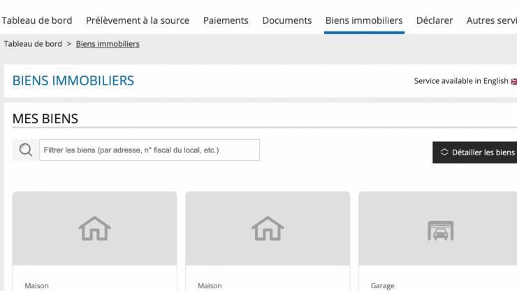 Capture d'écran de impots.gouv.fr