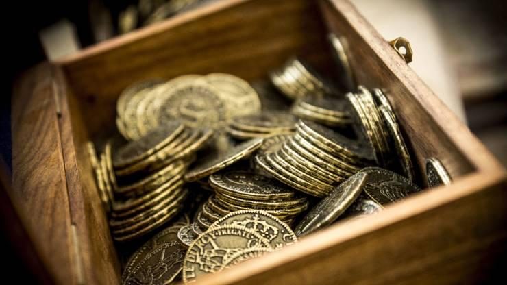 Un coffre rempli de pièces d'or